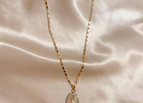 Diamond Virgin Mary Necklace