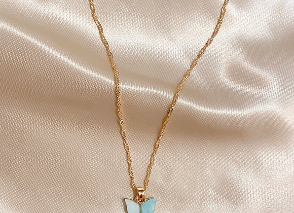 Blue Stone Butterfly Necklace