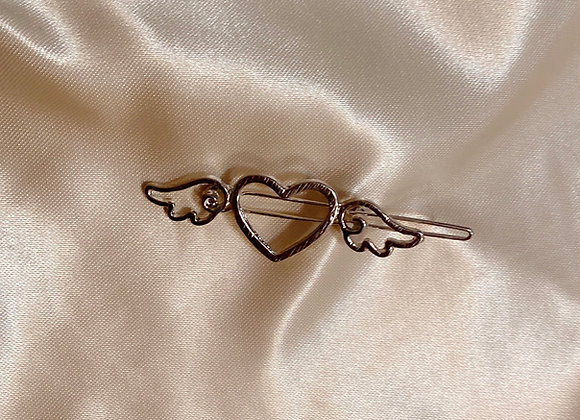 Silver Angel Heart Clip