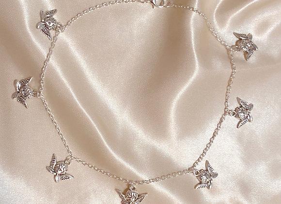 Silver Cherub Choker Necklace