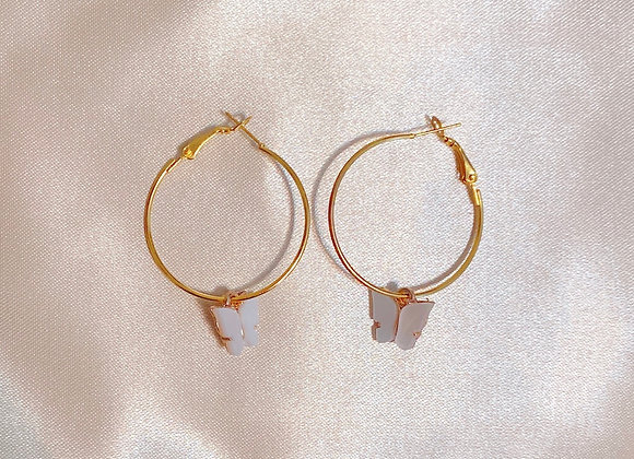 White Butterfly Hoops