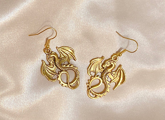 Antique Gold Dragon Earrings