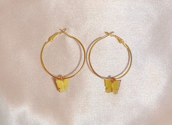 Yellow Butterfly Hoops