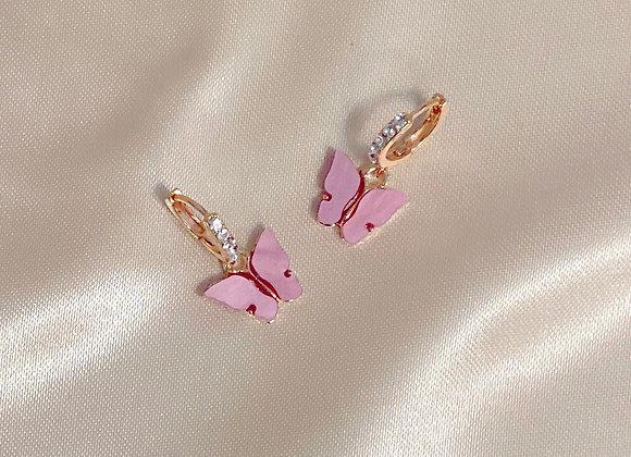 Pink Stone Butterfly Earrings