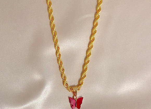 Red Butterfly Rope Chain