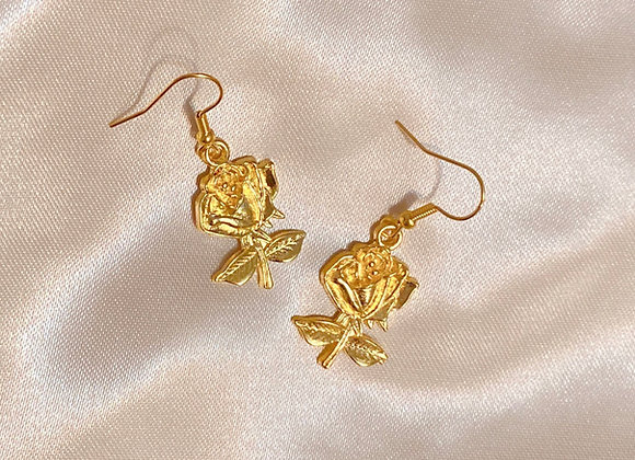 Gold Rose Earrings
