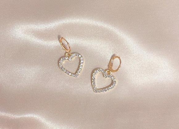 Diamond Heart Huggies