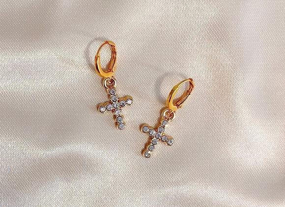 Mini Diamond Cross Huggies
