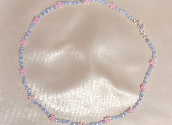 Baby Blue and Pink Beaded Necklace