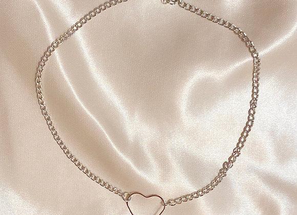 Silver Heart Choker