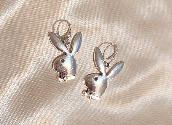 Silver Playboy Bunny Earrings