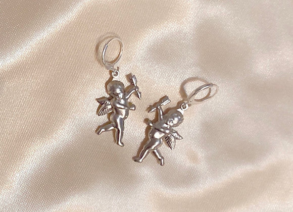 Silver Cherub Angel Earrings