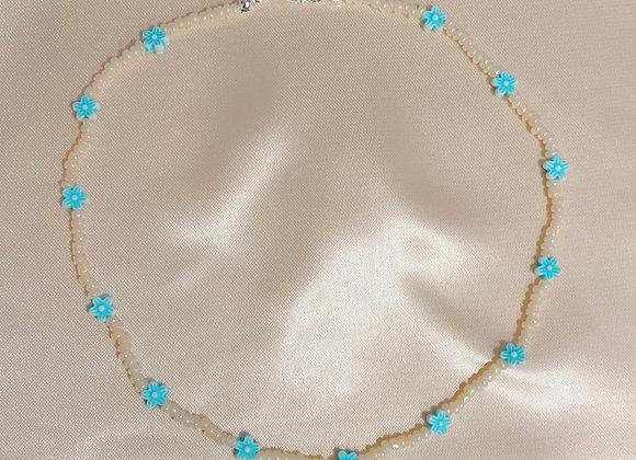 Baby Blue & Cream Beaded Necklace