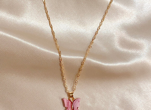 Pink Stone Butterfly Necklace