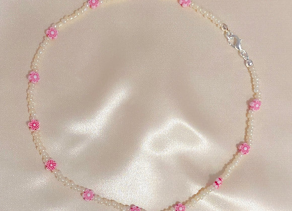 Pink and Cream Beaded Necklace