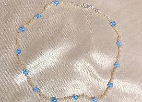Blue & Cream Beaded Necklace
