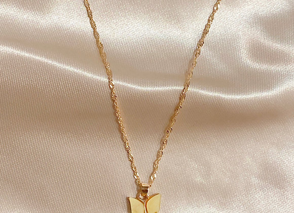 Yellow Stone Butterfly Necklace