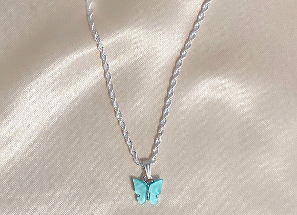 Blue & Silver Butterfly Rope Chain