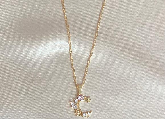 Floral Crescent Necklace