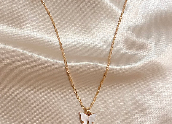 White Stone Butterfly Necklace