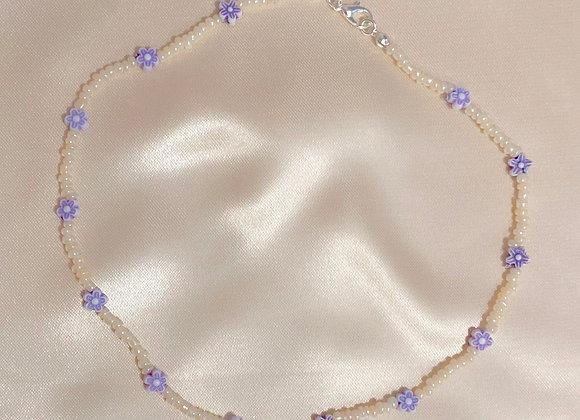 Purple & Cream Beaded Necklace