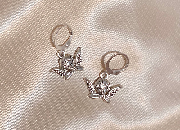 Silver Cherub Earrings