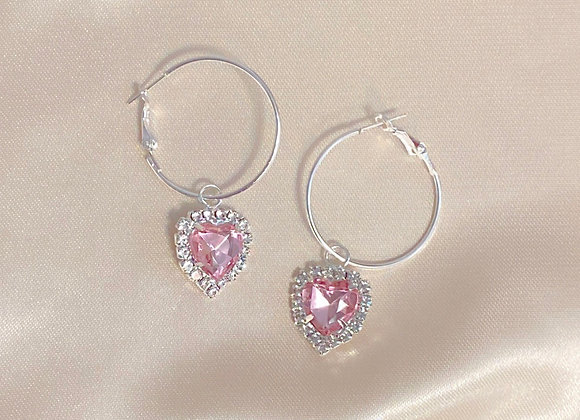 Diamond Heart Hoops