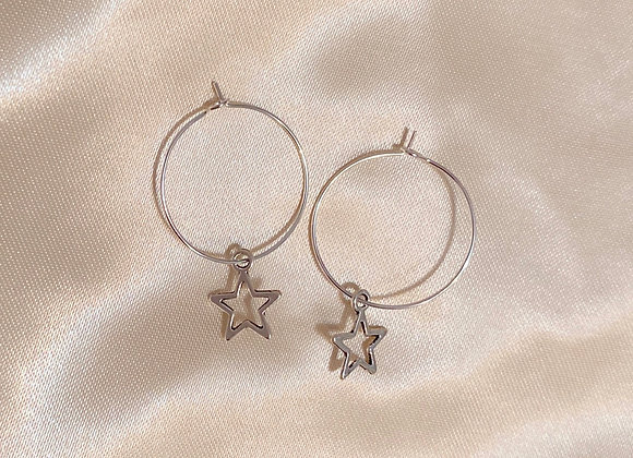 Hollow Star Hoops