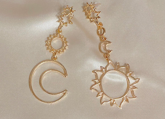 Gold Sun, Moon and Stars Earrings