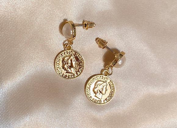 Pearl Coin Earrings