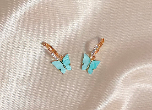 Blue Stone Butterfly Earrings
