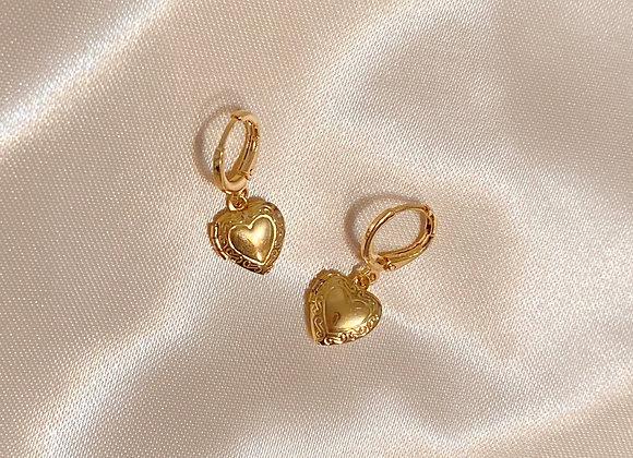 Gold Heart Locket Earrings