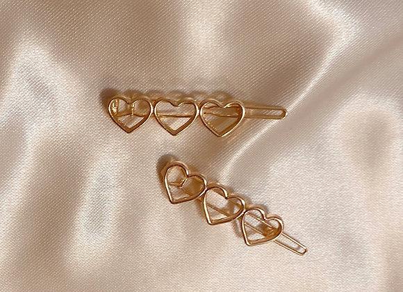 Gold Triple Heart Clip