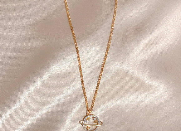 Gold Saturn Necklace