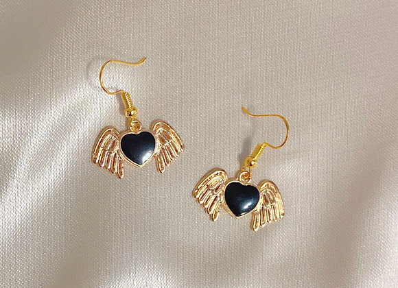 Black Heart Angel Earrings