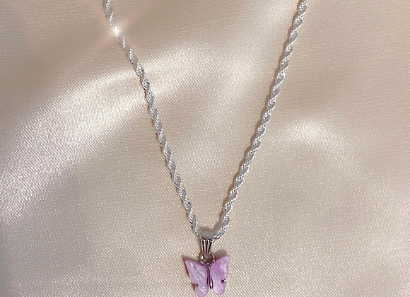 Lilac & Silver Butterfly Rope Chain
