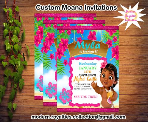 Moana Birthday Party Invitations Custom Invitations Modern Royalties
