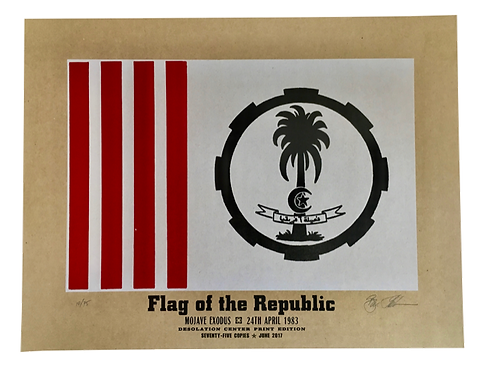 "Mojave Exodus Savage Republic Flag, 3-Color Letterpress Art Print (17""x22"")"
