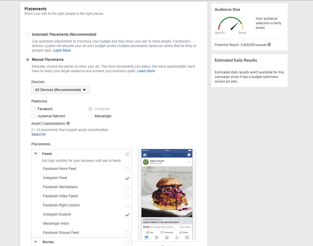 Edit your ad placements for Facebook
