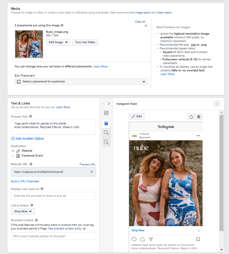 Set up your Facebook ads, choose media, text, and links and preview your Facebook ads