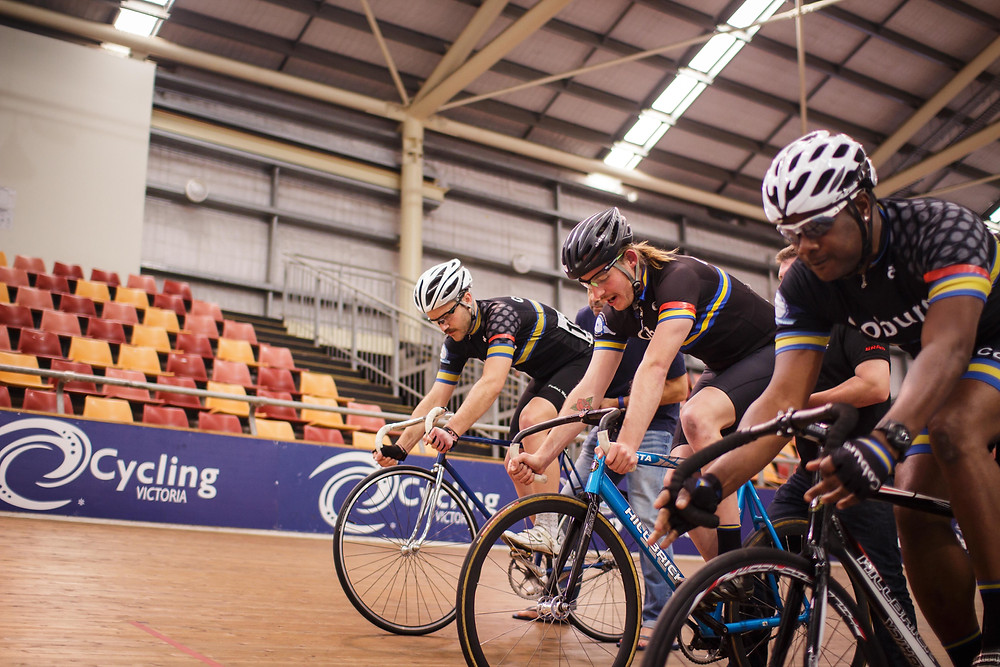 coburg cyclists preparing for a team pursuit on the velodrome
