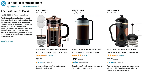 Amazon editorial recommendations widget