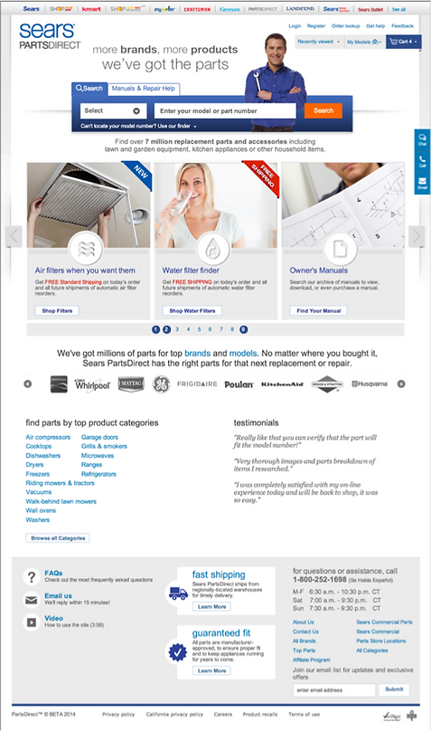Sears Parts Direct home page
