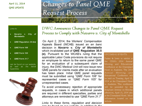 DWC Announces Changes to Panel QME Request Process to Comply with Navarro v. City of Montebello