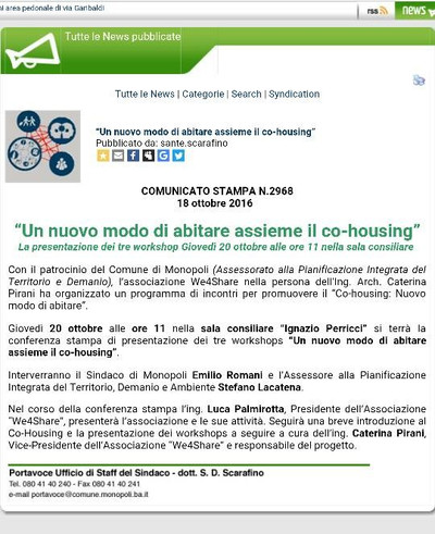 Conferenza stampa sul Co-Housing
