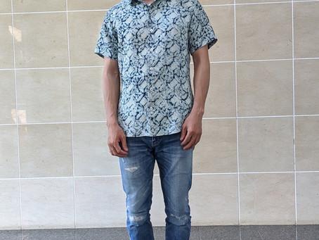 絞りの羽織リメイクのシャツ