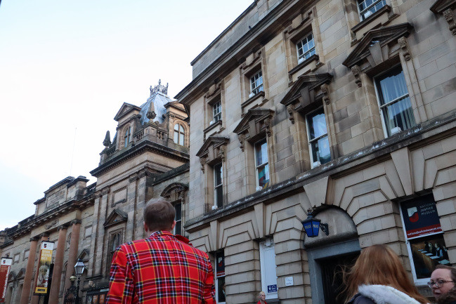 Tartan clad visitor to the National Justice Museum