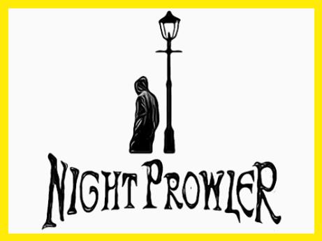 Night Prowler monochrome logo with yello
