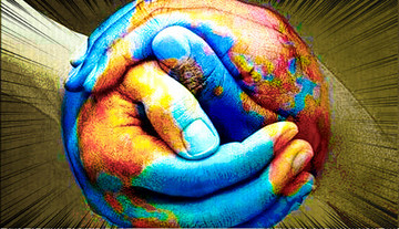Two hands joined together and the globe painted onto it.