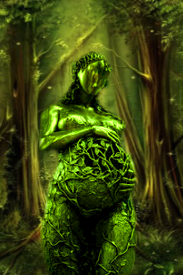 Fantasy setting of Mother Earth in woodland